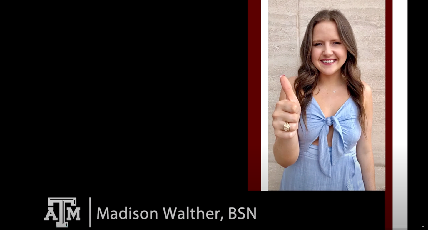 Maddie's virtual graduation slide as presented by Texas A&M nursing school.