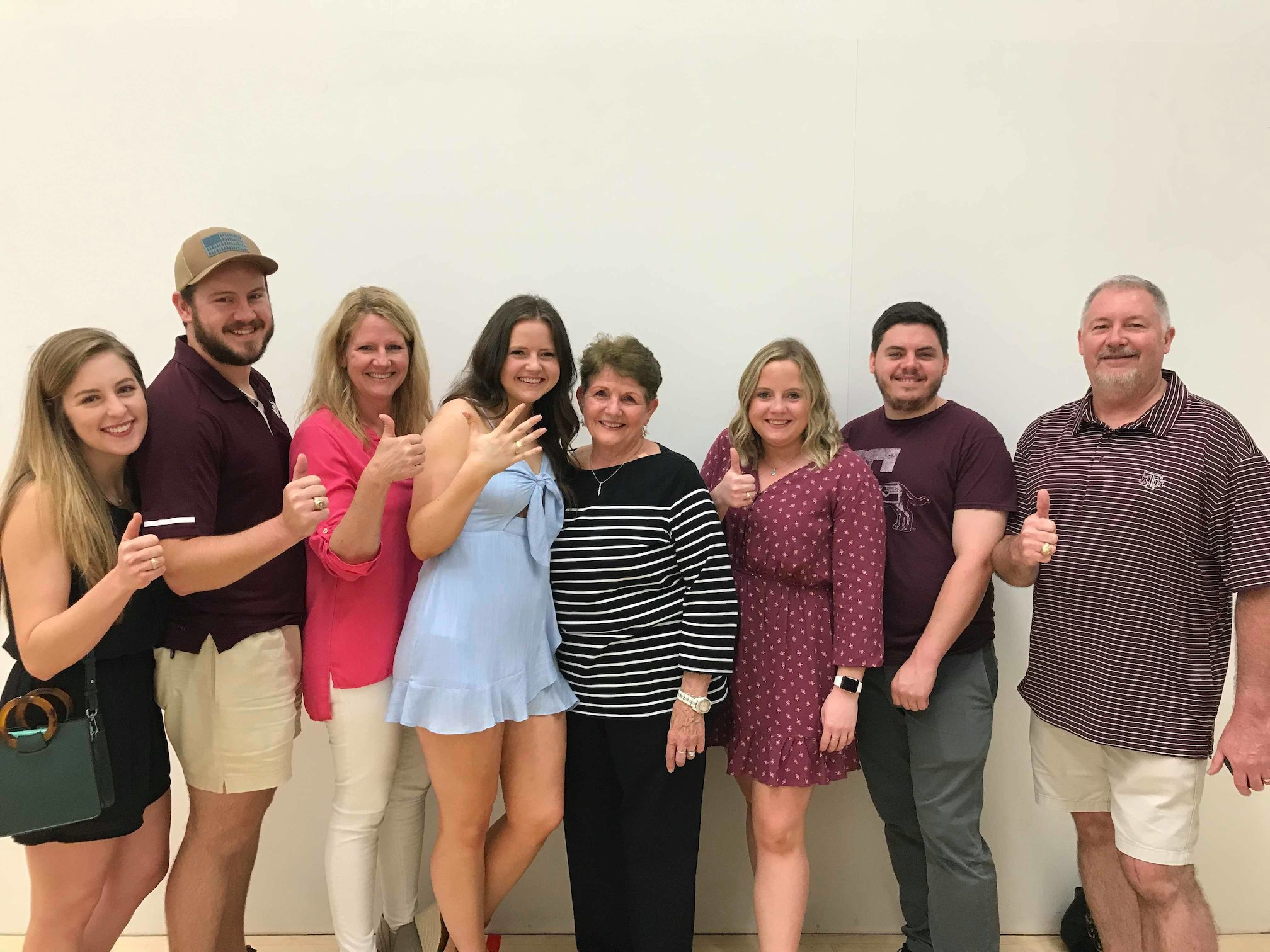 Katherine, Brent, Susan, Maddie, Memommy, Courtney, Cody, and Mike at Maddies Ring Day.