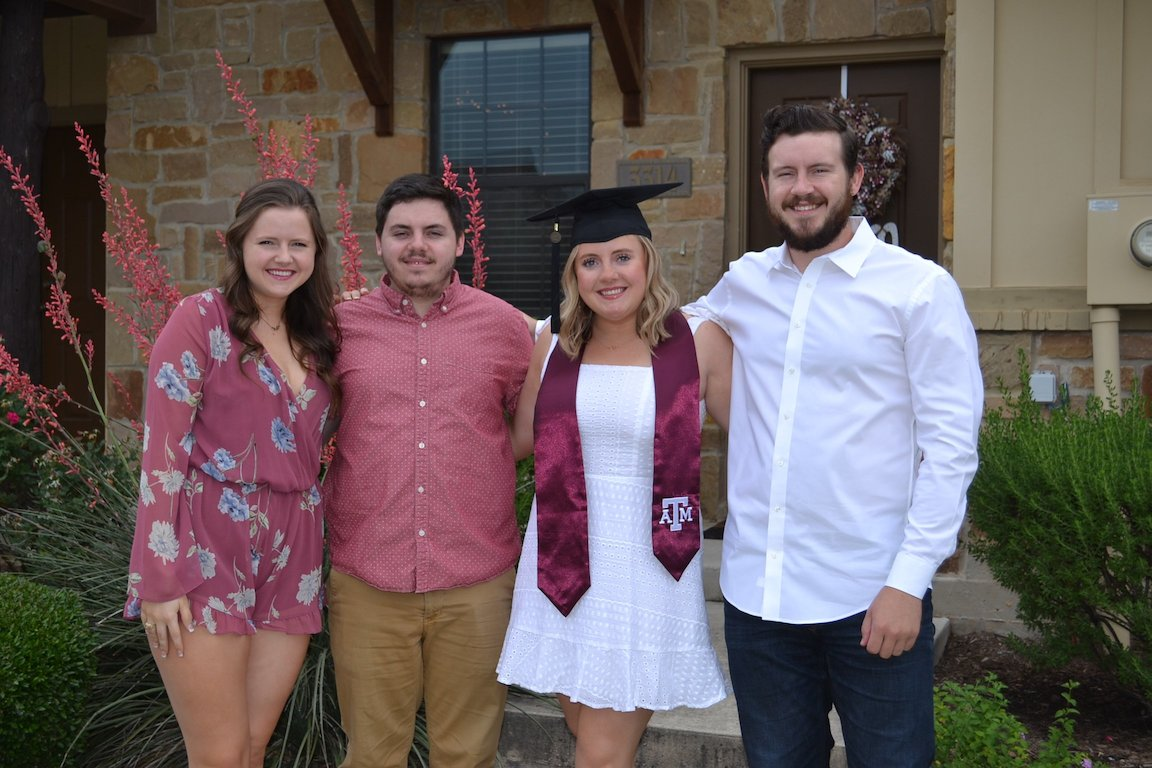 Maddie, Cody, Courtney, and Brent on Courtney's Graduation Day.