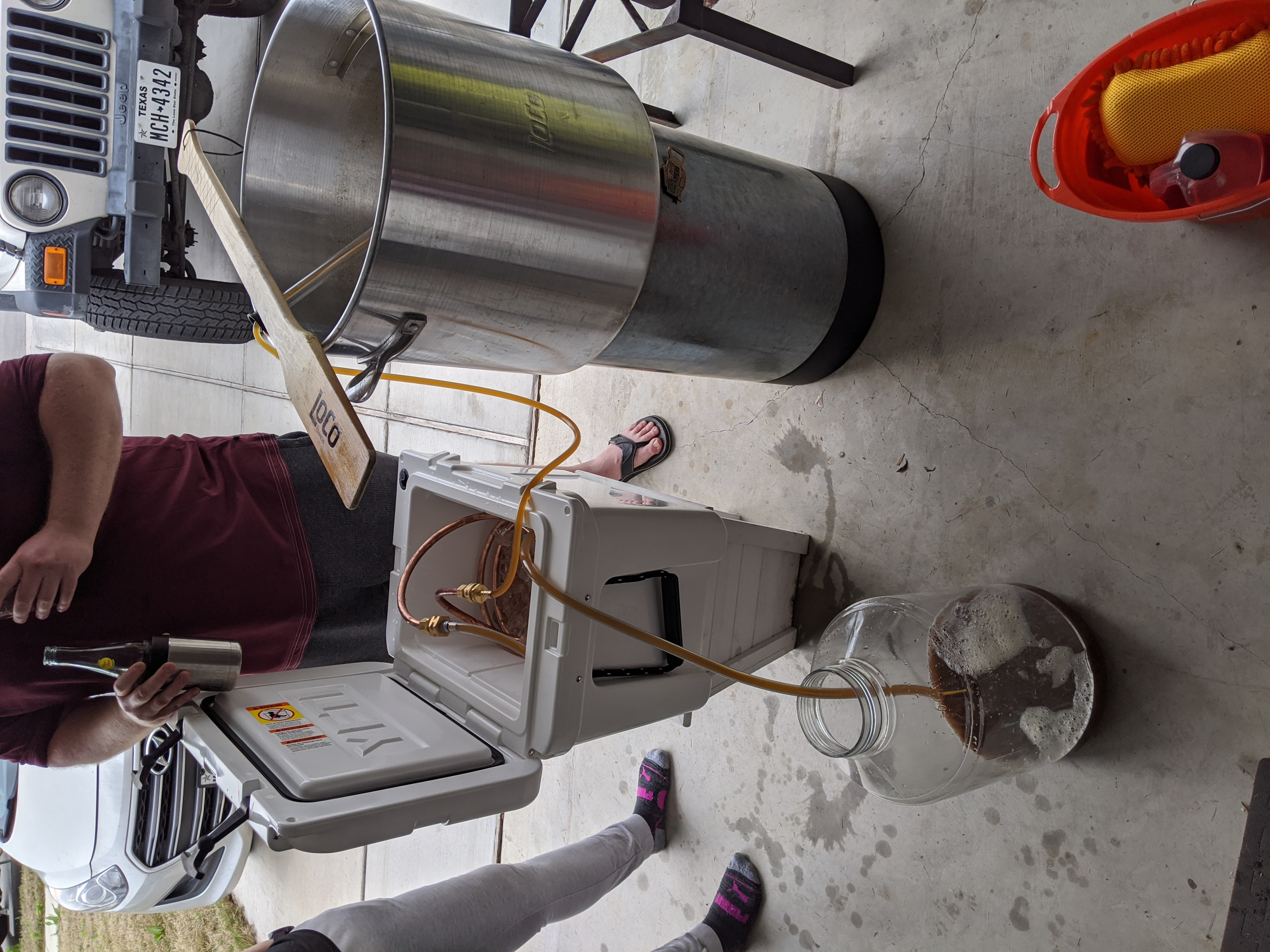 Wort chilling using our fancy copper chiller coil. In my opinion, this is our best equipment purchase so far.